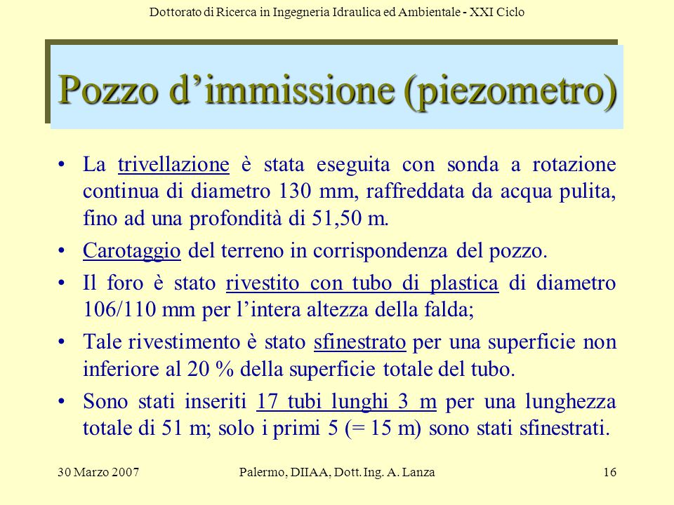 Pozzo d'immissione (piezometro)