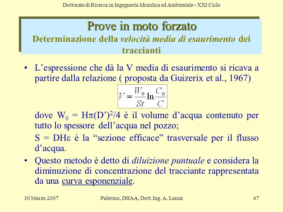 Palermo, DIIAA, Dott. Ing. A. Lanza