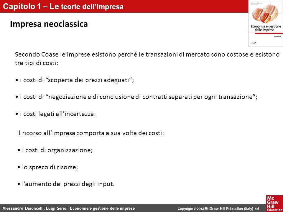 Impresa neoclassica Secondo Coase le imprese esistono perché le transazioni di mercato sono costose e esistono tre tipi di costi: