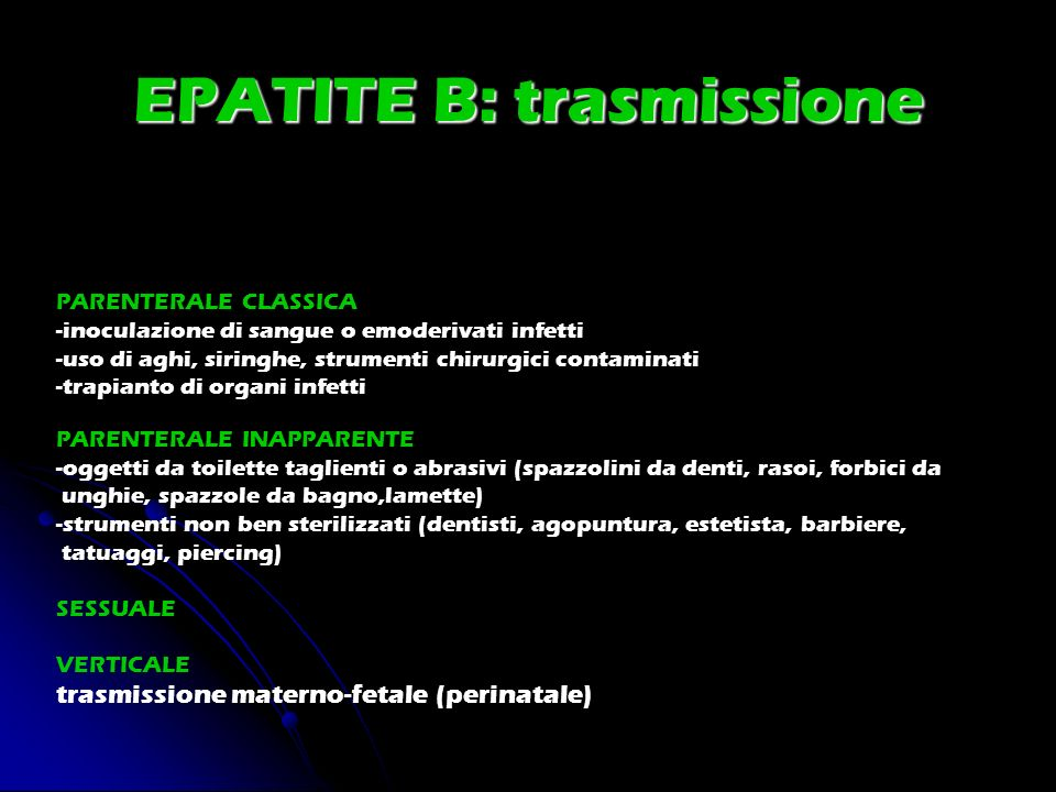 EPATITE B: trasmissione