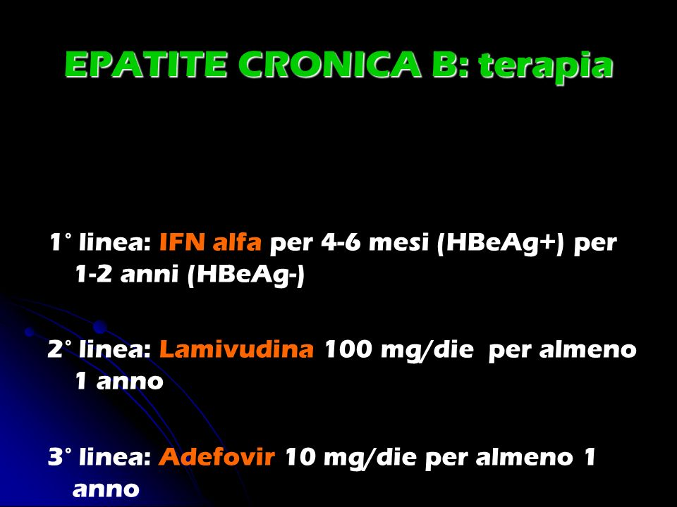 EPATITE CRONICA B: terapia