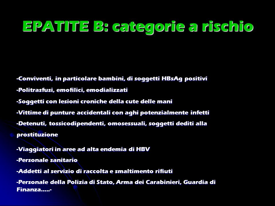EPATITE B: categorie a rischio