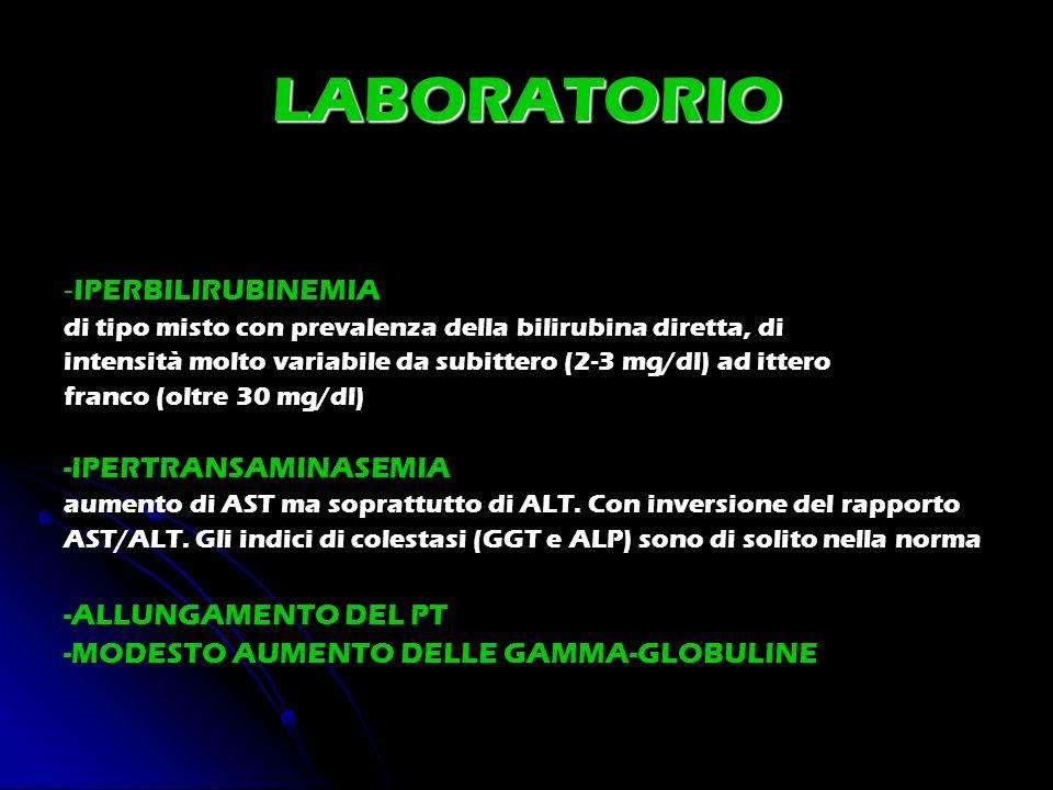 LABORATORIO -IPERBILIRUBINEMIA -IPERTRANSAMINASEMIA