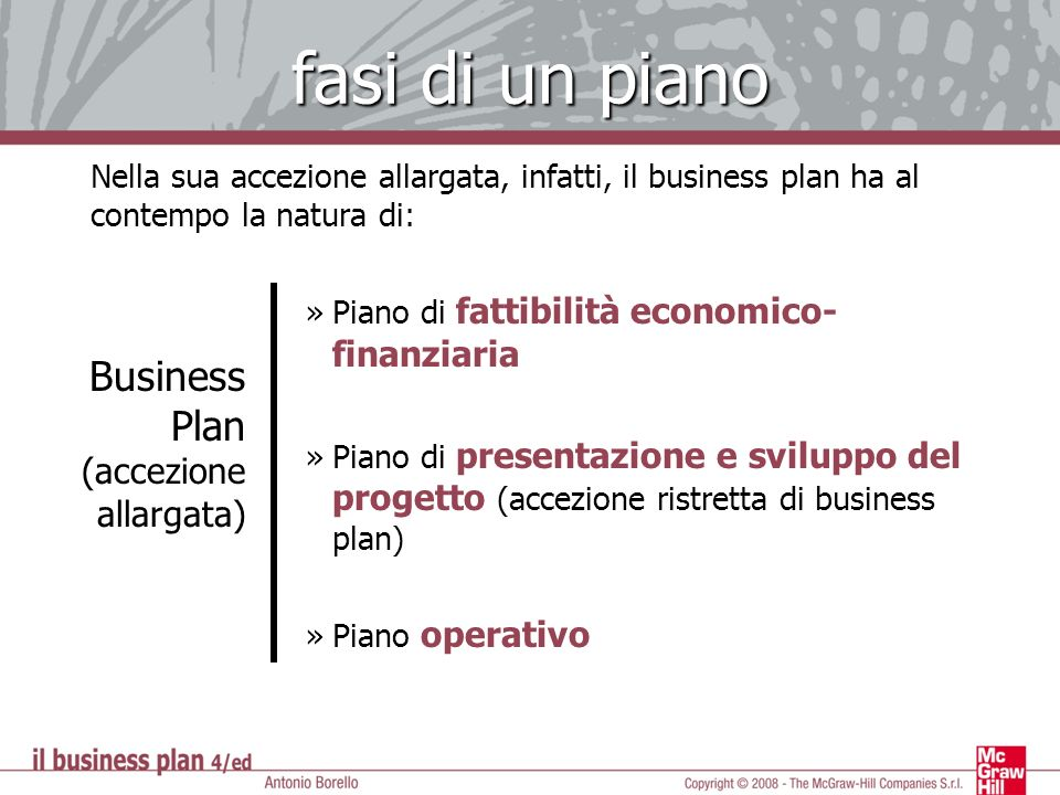 fasi di un piano Business Plan (accezione allargata)