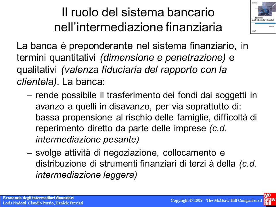 Il ruolo del sistema bancario nell'intermediazione finanziaria