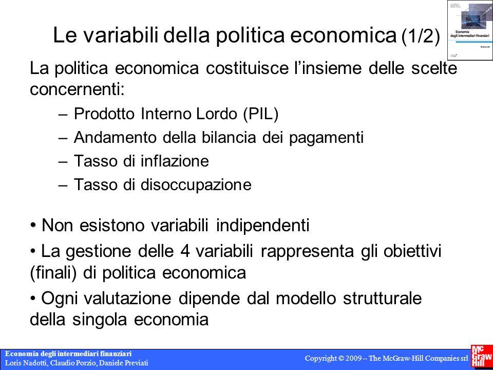 Le variabili della politica economica (1/2)