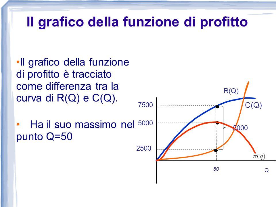 Il grafico della funzione di profitto