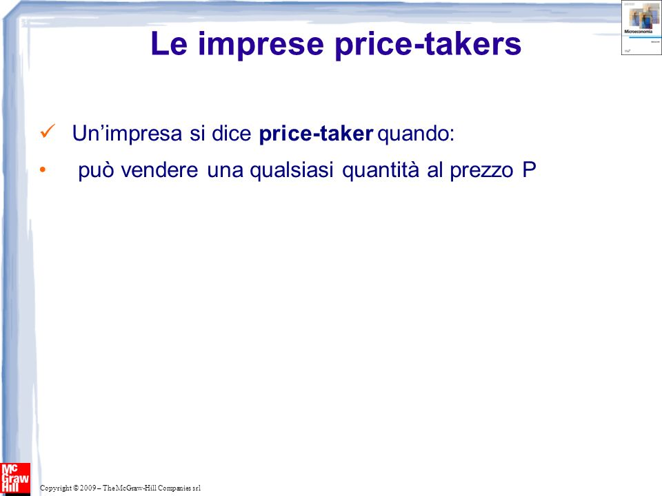 Le imprese price-takers