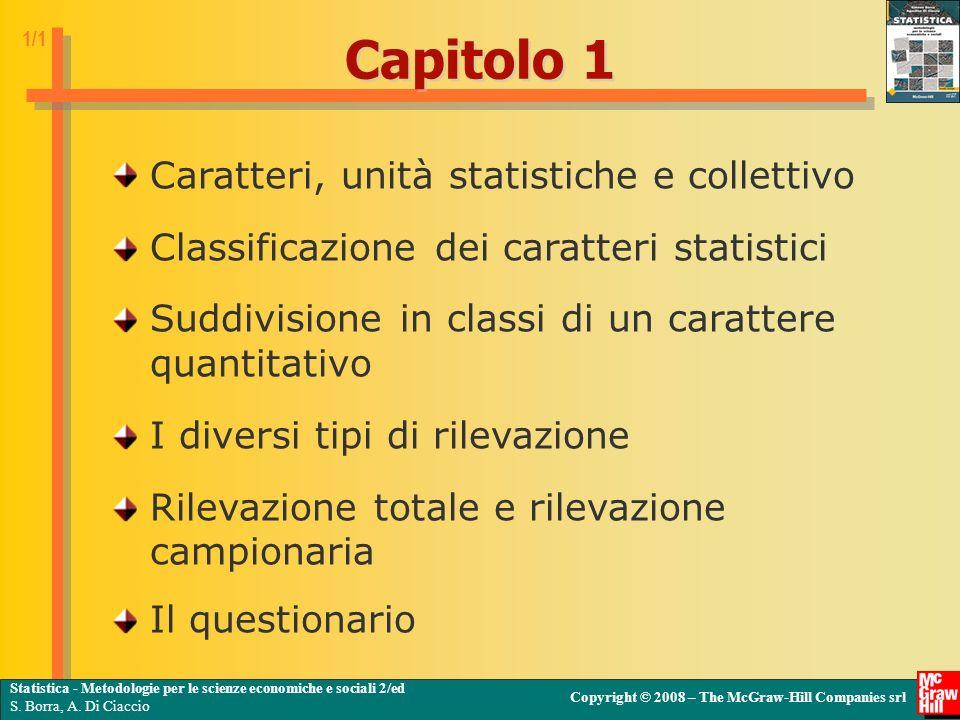 Capitolo 1 Caratteri, unità statistiche e collettivo