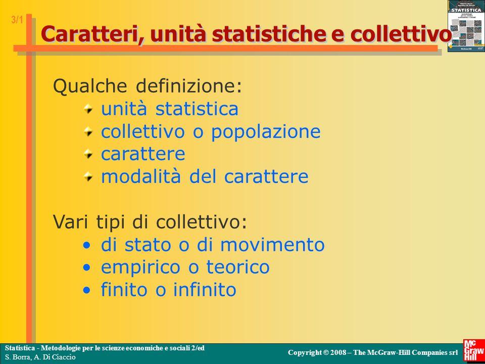 Caratteri, unità statistiche e collettivo