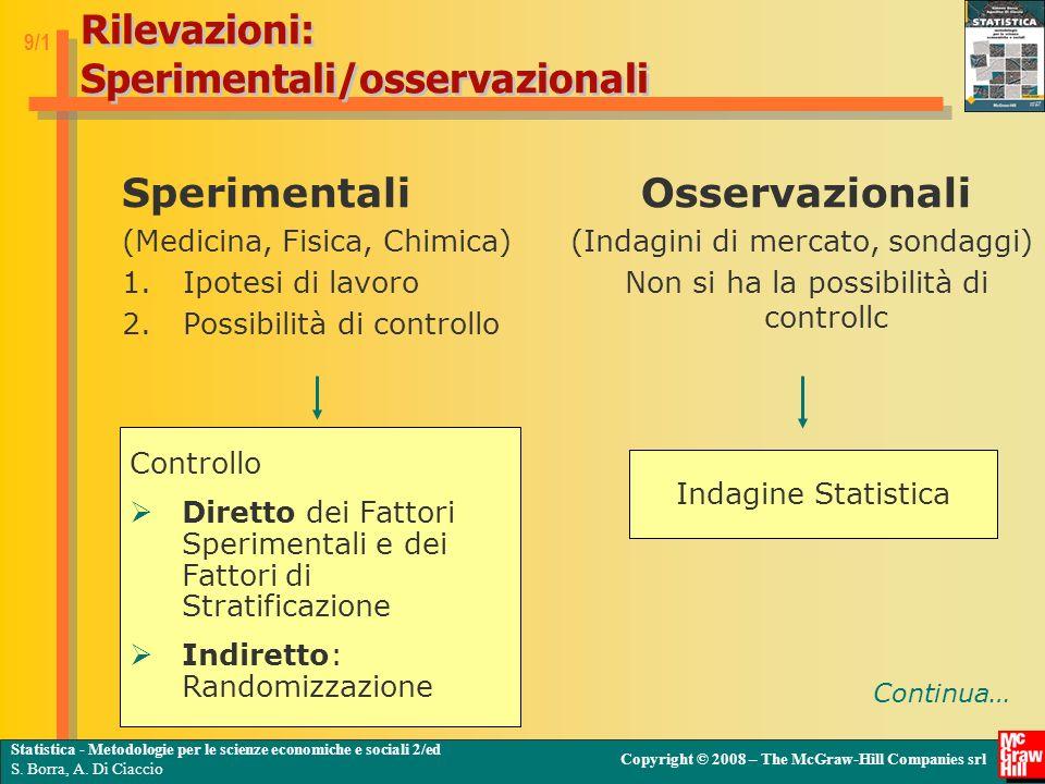Rilevazioni: Sperimentali/osservazionali