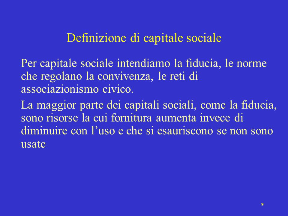 Definizione di capitale sociale