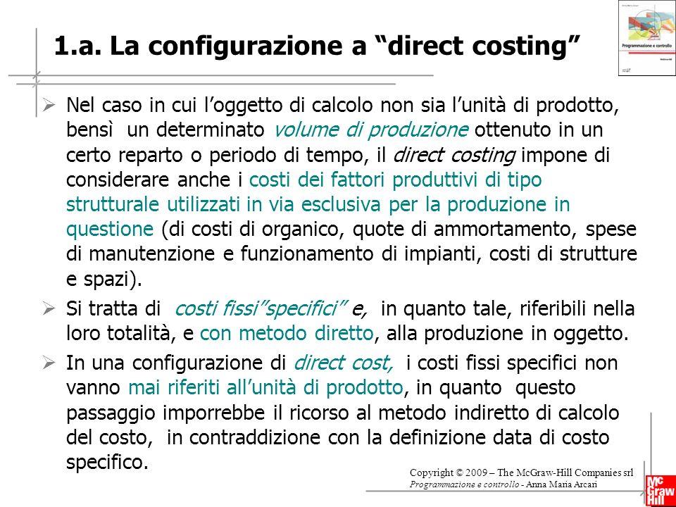 1.a. La configurazione a direct costing