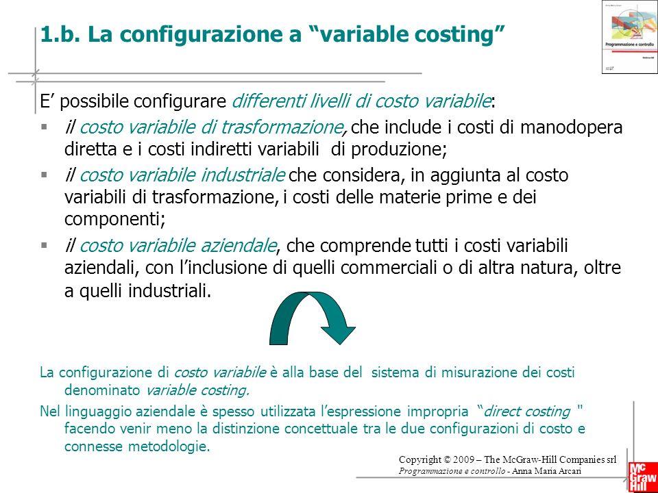 1.b. La configurazione a variable costing