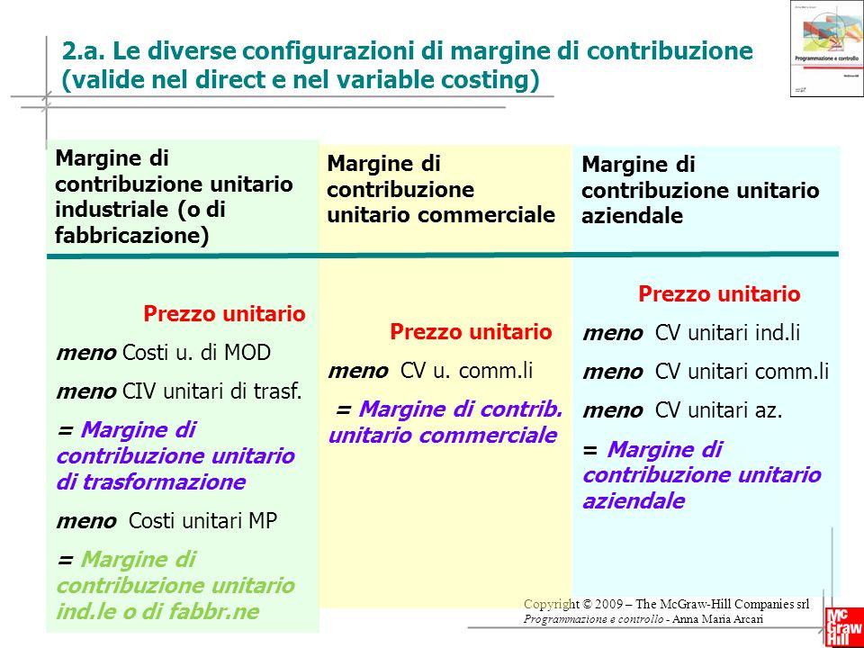 2.a. Le diverse configurazioni di margine di contribuzione (valide nel direct e nel variable costing)