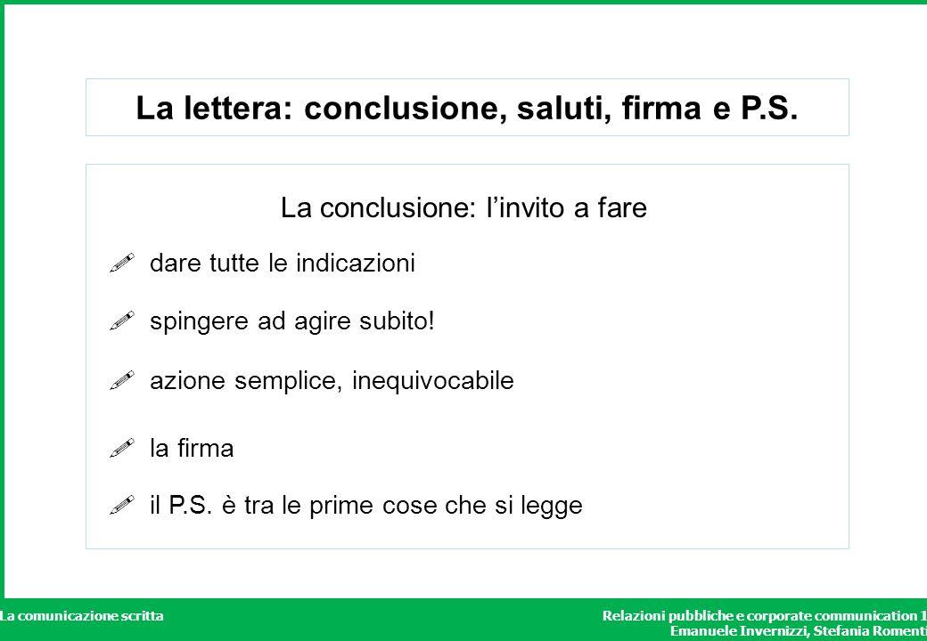 La lettera: conclusione, saluti, firma e P.S.