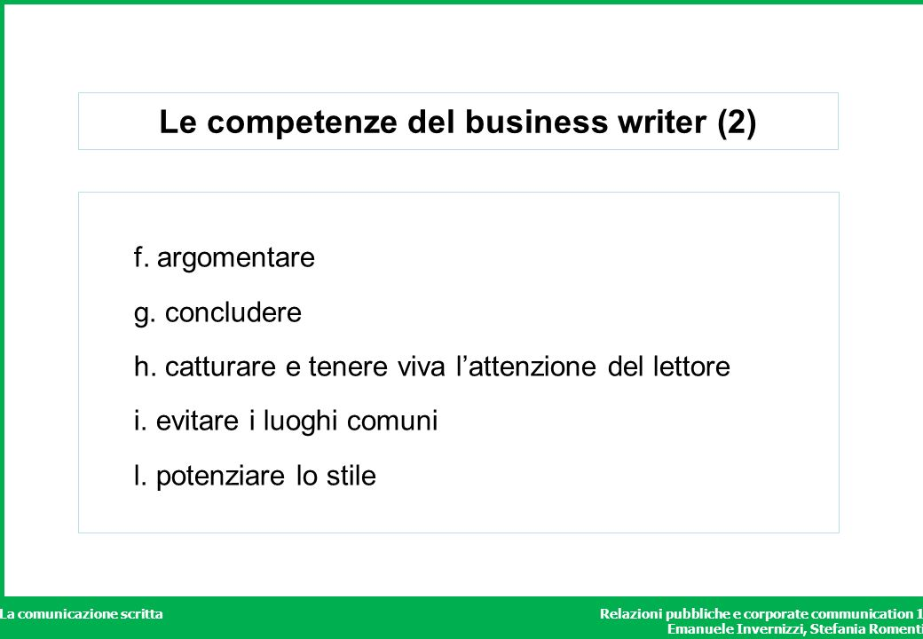 Le competenze del business writer (2)