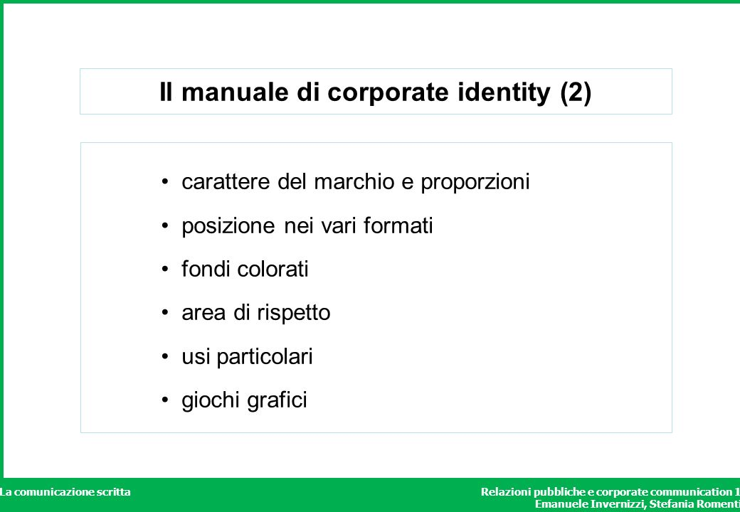 Il manuale di corporate identity (2)