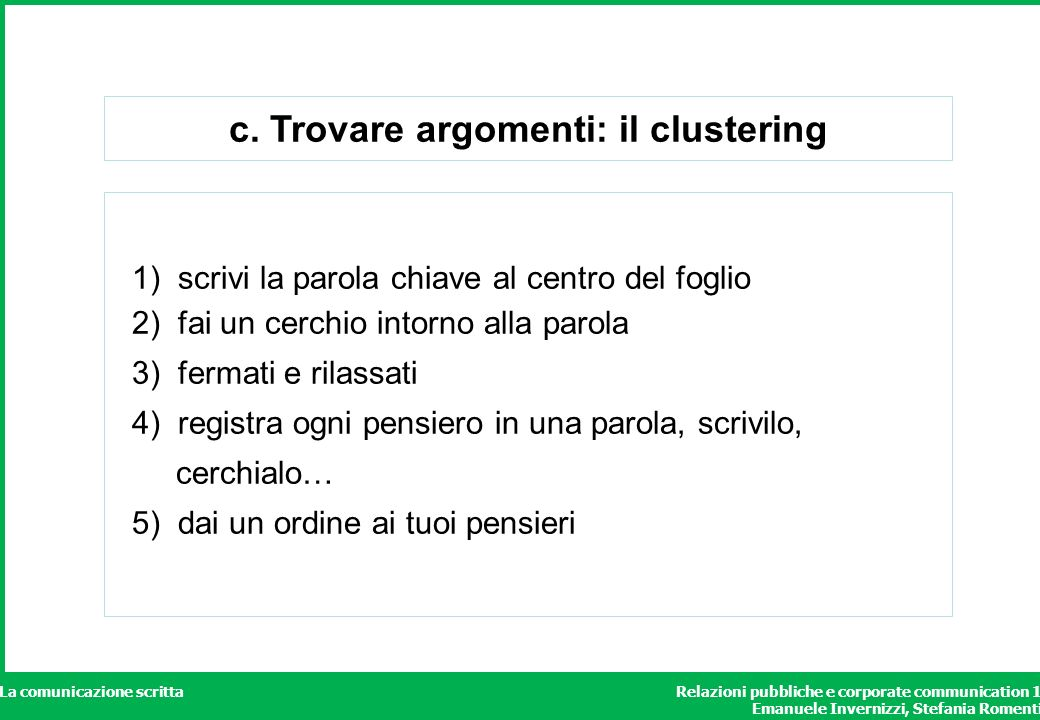c. Trovare argomenti: il clustering