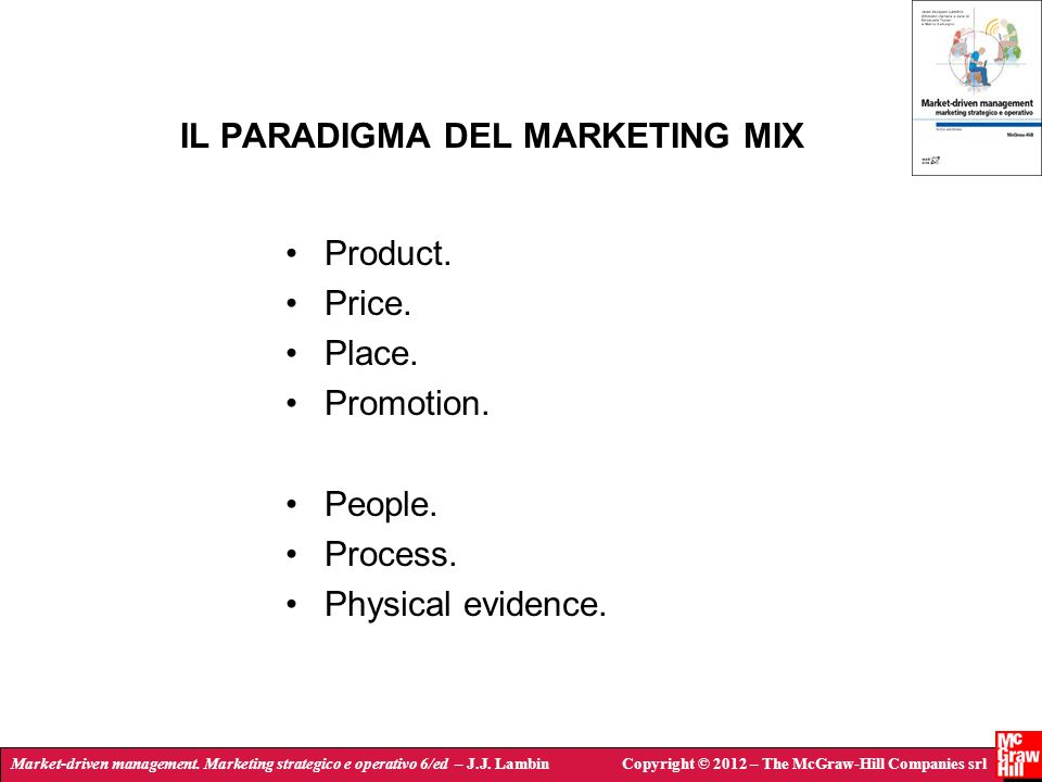 IL PARADIGMA DEL MARKETING MIX