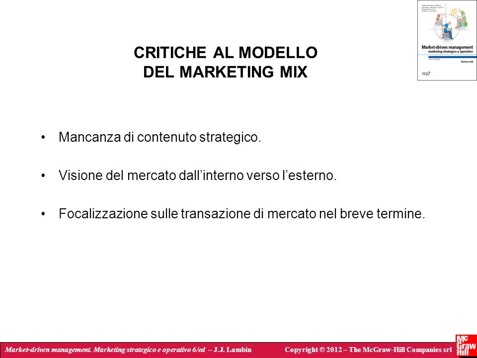 CRITICHE AL MODELLO DEL MARKETING MIX