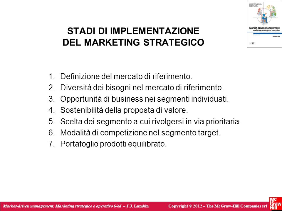 STADI DI IMPLEMENTAZIONE DEL MARKETING STRATEGICO