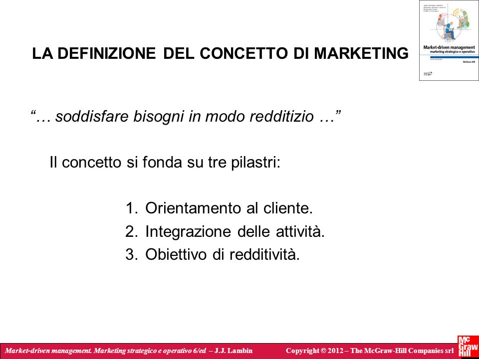 LA DEFINIZIONE DEL CONCETTO DI MARKETING