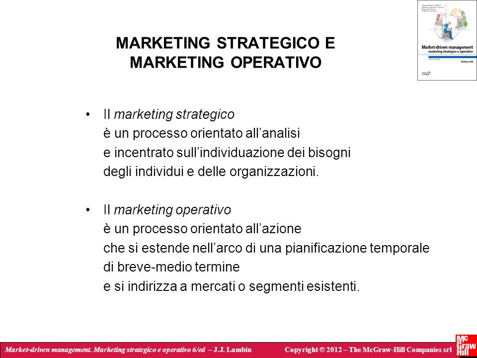 MARKETING STRATEGICO E MARKETING OPERATIVO