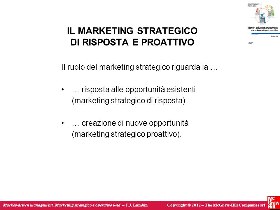 IL MARKETING STRATEGICO DI RISPOSTA E PROATTIVO