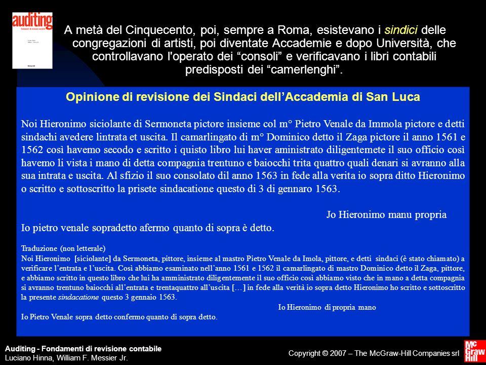 Opinione di revisione dei Sindaci dell'Accademia di San Luca