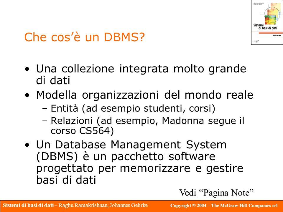 Che cos'è un DBMS Una collezione integrata molto grande di dati