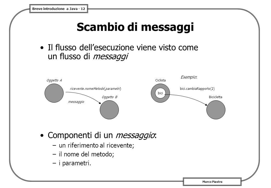 Scambio di messaggi Il flusso dell'esecuzione viene visto come un flusso di messaggi. Esempio: Oggetto A.