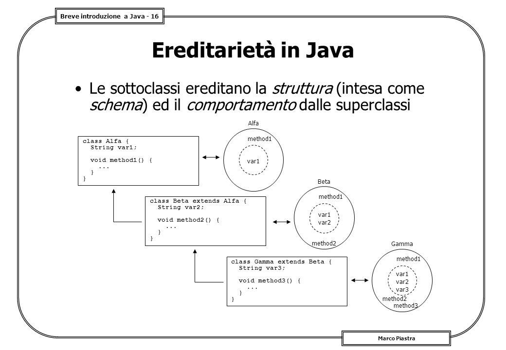Ereditarietà in Java Le sottoclassi ereditano la struttura (intesa come schema) ed il comportamento dalle superclassi.
