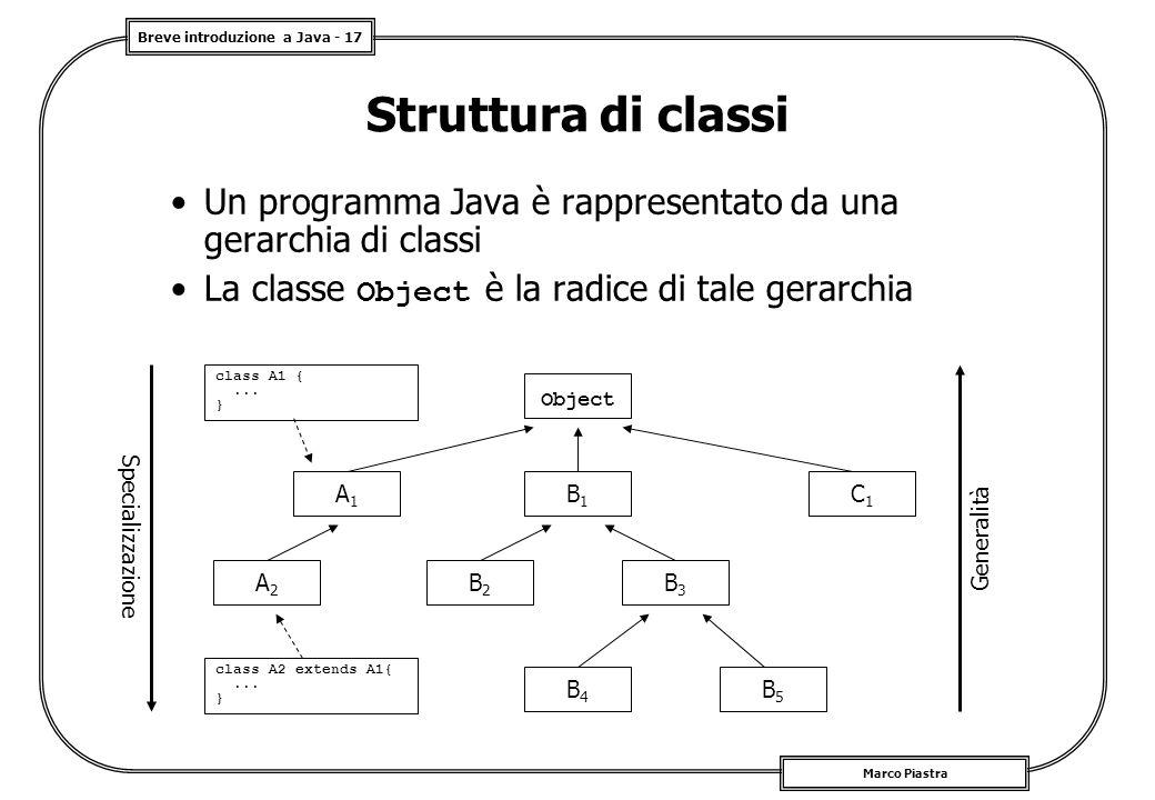 Struttura di classi Un programma Java è rappresentato da una gerarchia di classi. La classe Object è la radice di tale gerarchia.