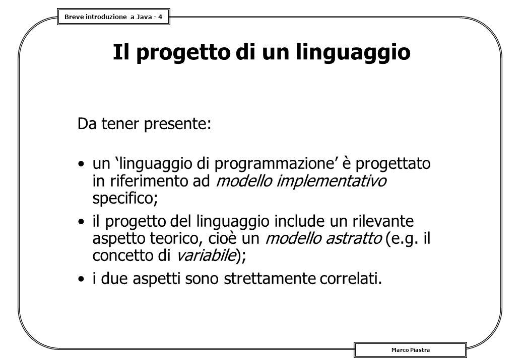 Il progetto di un linguaggio