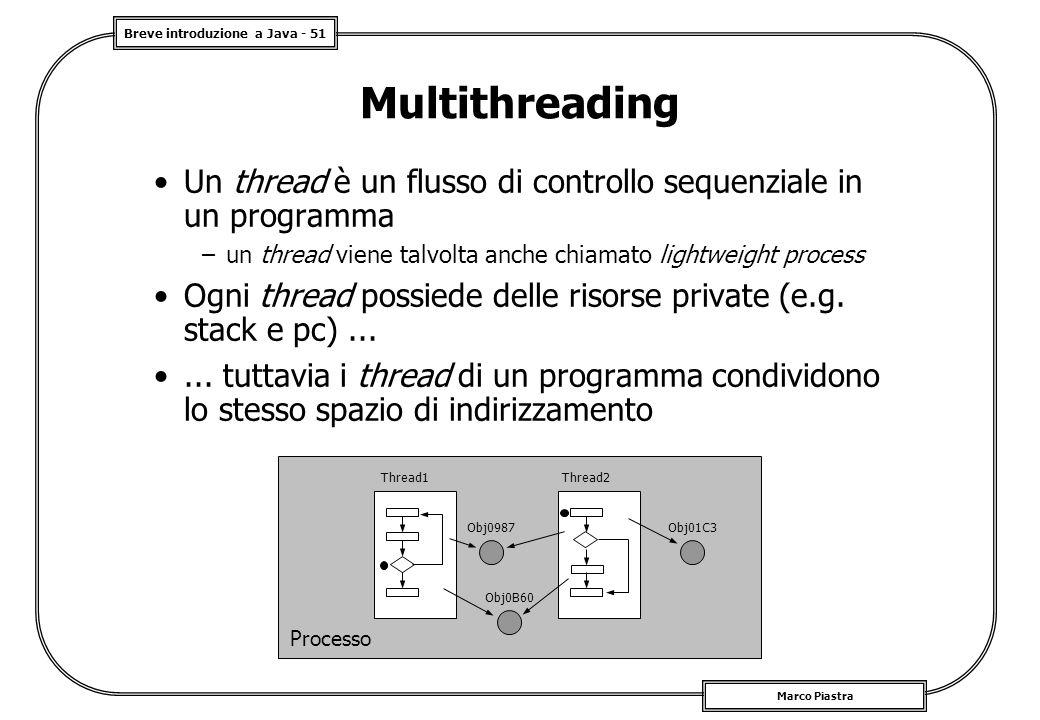 Multithreading Un thread è un flusso di controllo sequenziale in un programma. un thread viene talvolta anche chiamato lightweight process.