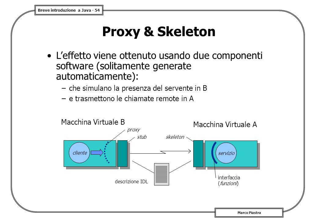 Proxy & Skeleton L'effetto viene ottenuto usando due componenti software (solitamente generate automaticamente):