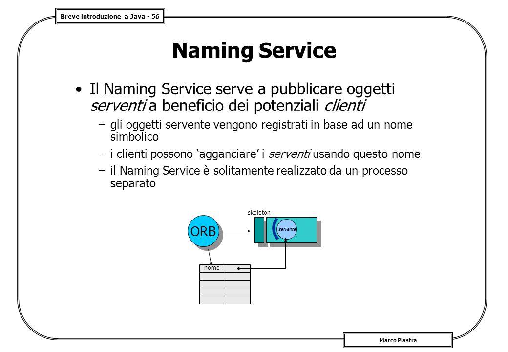 Naming Service Il Naming Service serve a pubblicare oggetti serventi a beneficio dei potenziali clienti.