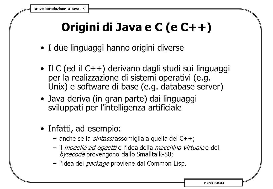 Origini di Java e C (e C++)