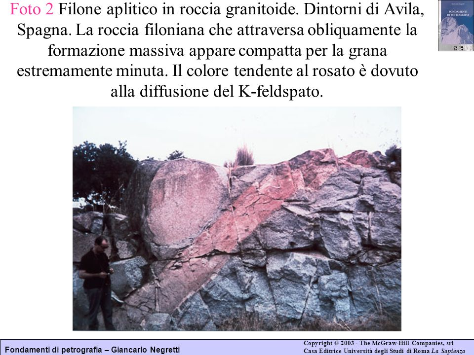 Foto 2 Filone aplitico in roccia granitoide. Dintorni di Avila, Spagna