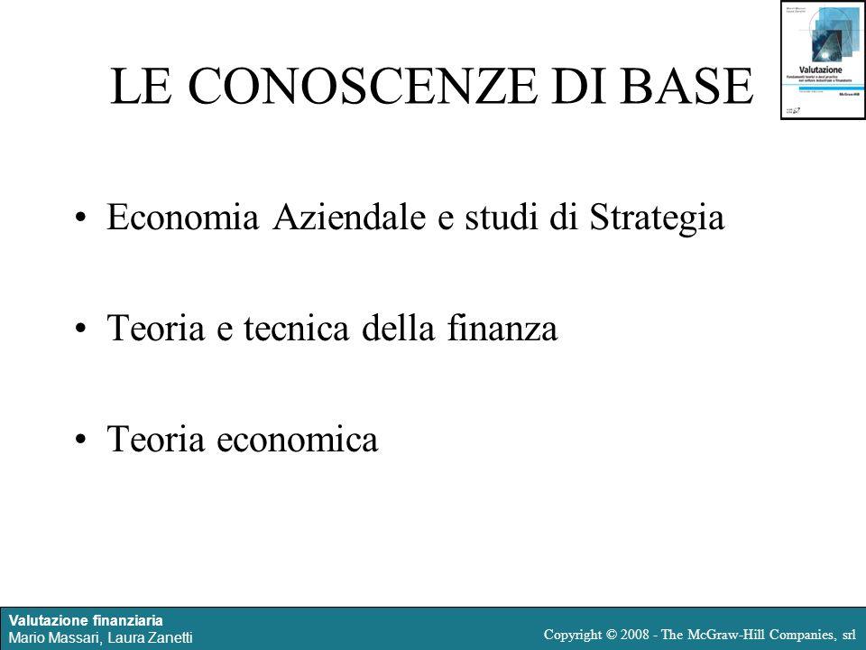 LE CONOSCENZE DI BASE Economia Aziendale e studi di Strategia