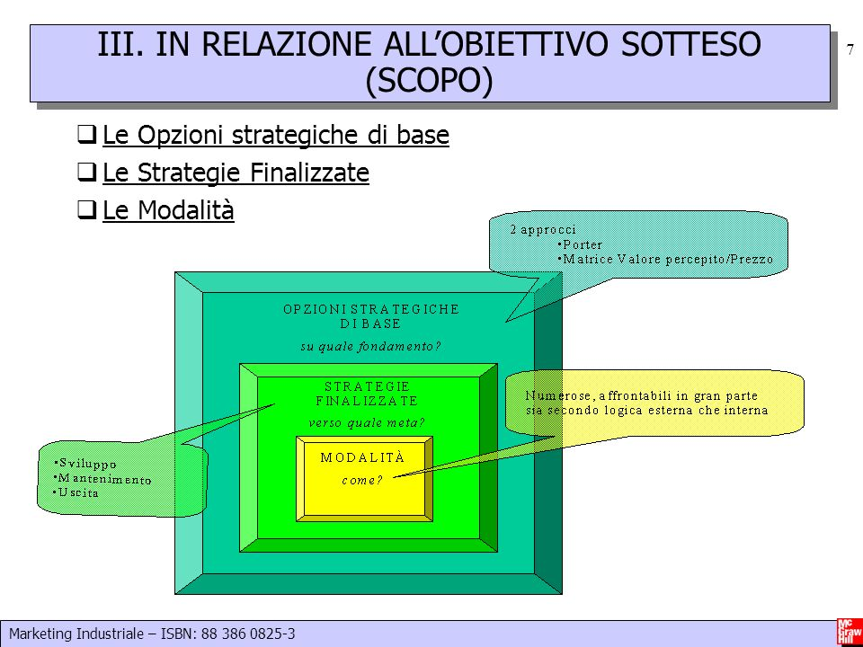 III. IN RELAZIONE ALL'OBIETTIVO SOTTESO (SCOPO)