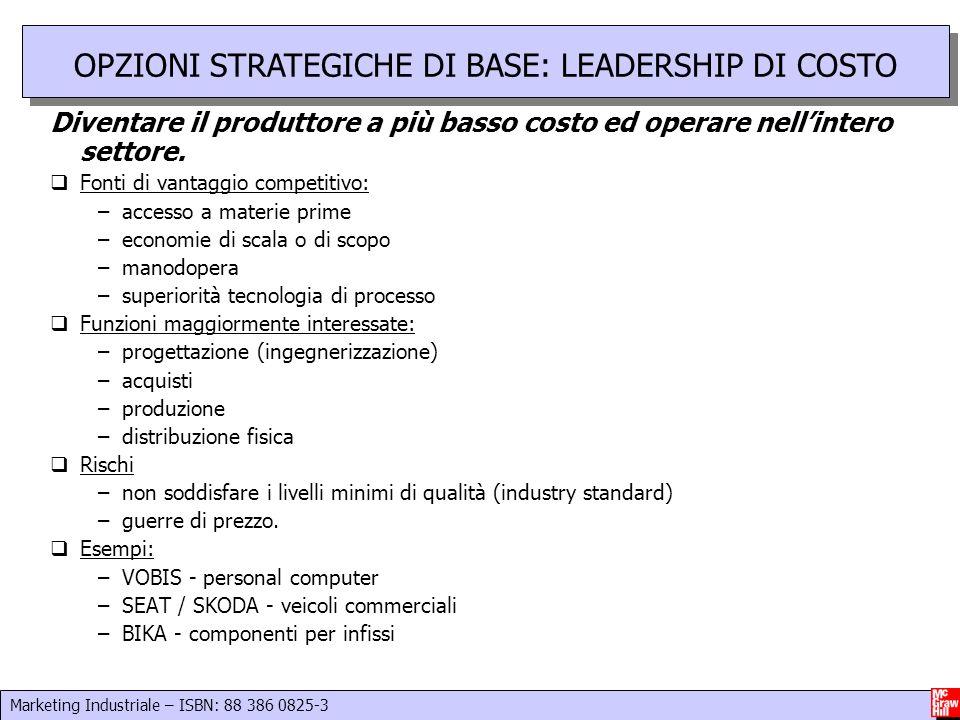 OPZIONI STRATEGICHE DI BASE: LEADERSHIP DI COSTO