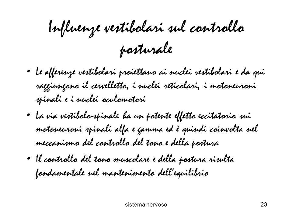 Influenze vestibolari sul controllo posturale