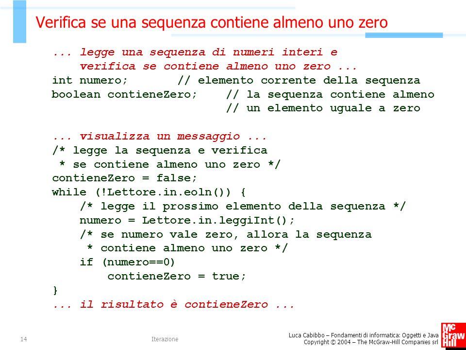 Verifica se una sequenza contiene almeno uno zero