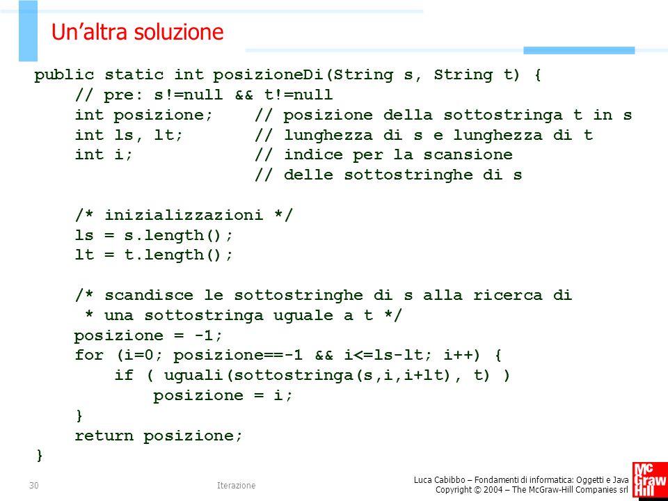 Un'altra soluzione public static int posizioneDi(String s, String t) {