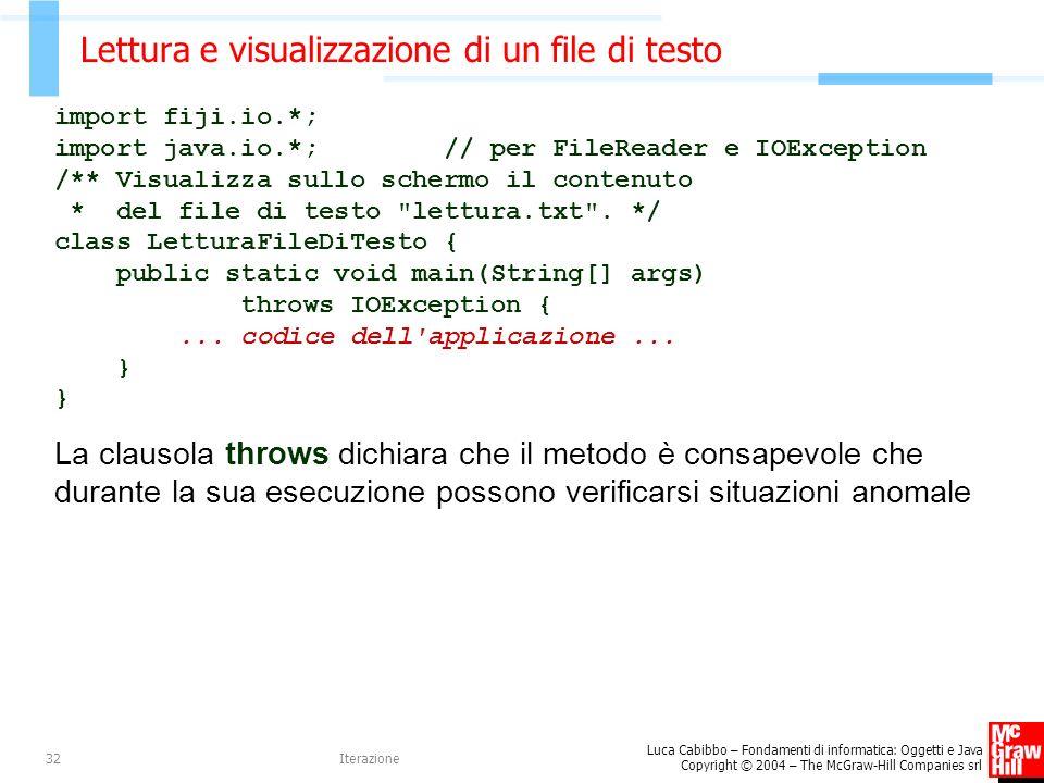 Lettura e visualizzazione di un file di testo