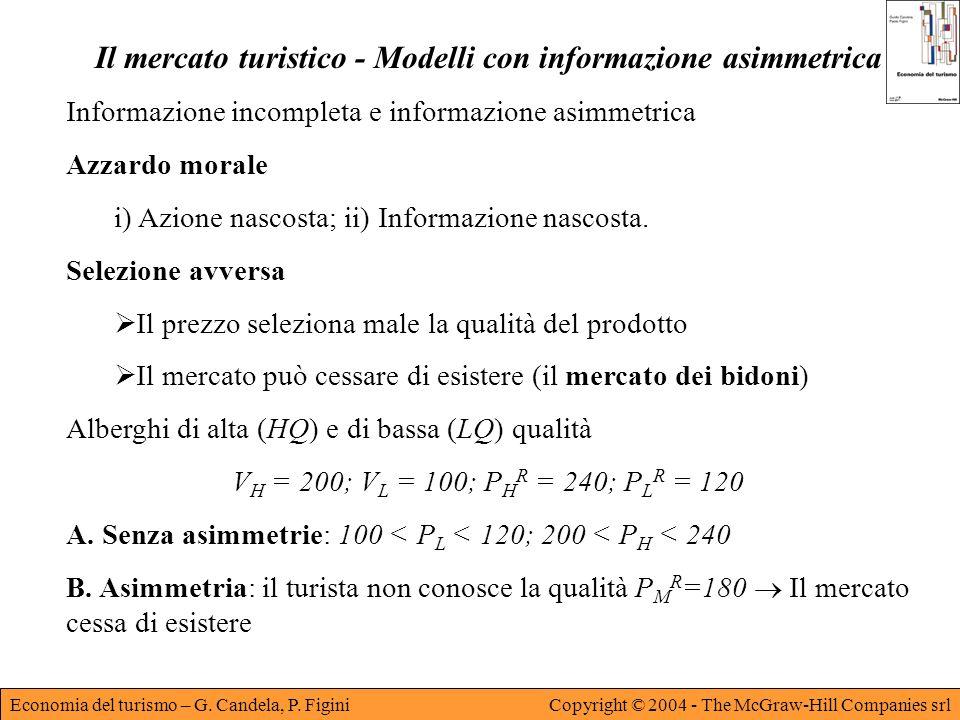 Il mercato turistico - Modelli con informazione asimmetrica