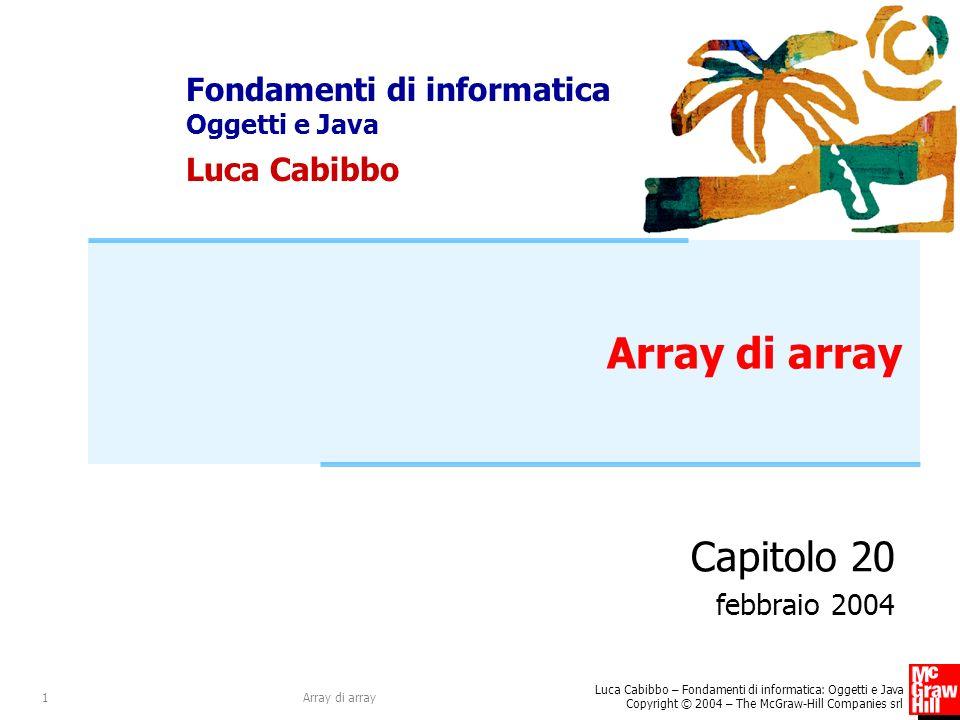 Array di array Capitolo 20 febbraio 2004 Array di array