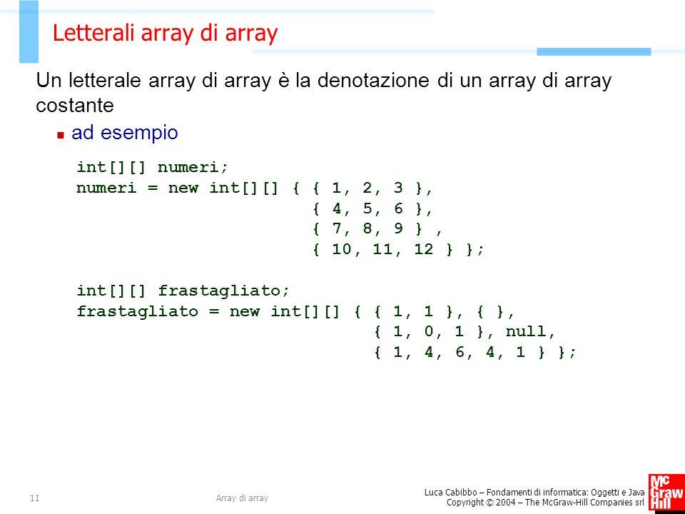 Letterali array di array